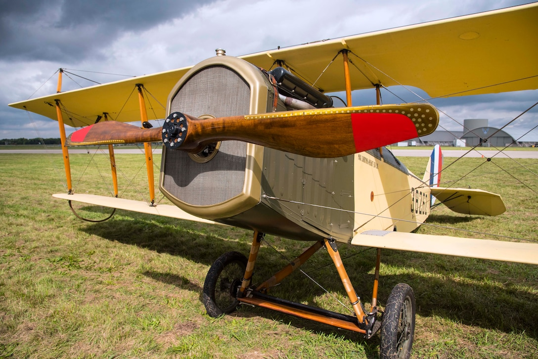 "DAYTON, Ohio -- World War I aircraft took to the skies during the Tenth WWI Dawn Patrol Rendezvous on Oct. 1-2, 2016, at the National Museum of the U.S. Air Force. This aircraft is a Curtiss JN4 Jenny from the non-profit organization ""Friends of Jenny"", Bowling Green, Kentucky. (U.S. Air Force photo by Ken LaRock)"