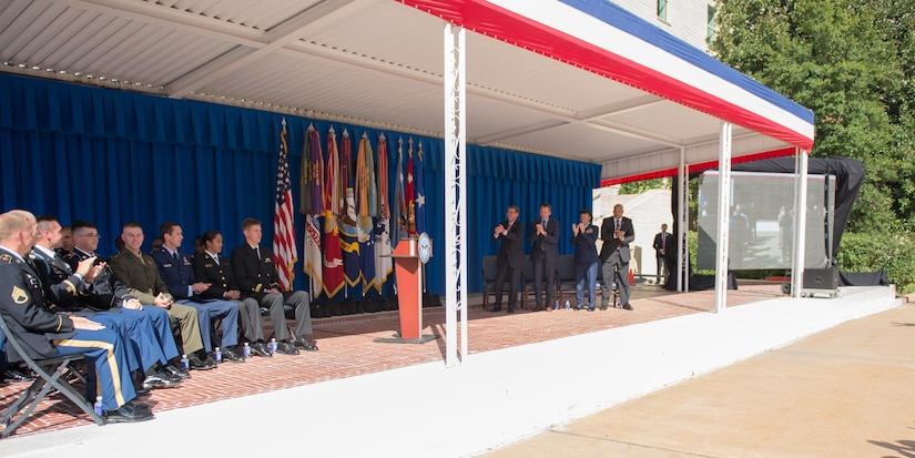 Defense Secretary Ash Carter and Pentagon senior leaders honor service members who competed in the 2016 Paralympics and Olympics during a ceremony at the Pentagon courtyard, Oct. 3, 2016. DoD photo by Army Sgt. Amber I. Smith