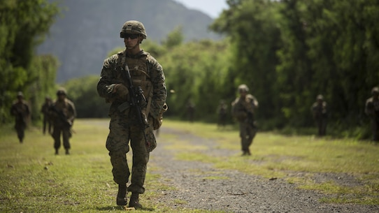 Marines from Charlie Company, 1st Battalion, 3rd Marine Regiment, conduct patrols that are part of Exercise Island Viper at Marine Corps Training Area Bellows, Sept. 27, 2016. Marines wrap up their final week of Exercise Island Viper, an annual pre-deployment training event preparing Marines for a larger exercise in the Pacific Region. During Exercise Island Viper, the Marines practiced clearing buildings, patrolling through simulated villages, solved obstacles at the Leadership Reaction Course and traversing through an Improvising Explosive Devices course.