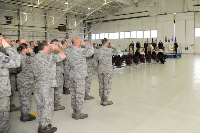 The 127th Air Refueling Group renders the first salute to Col. Stanley Krasovic, 127th ARG commander, during the change of command ceremony at Selfridge Air National Guard Base, Mich., on Oct. 1, 2016. Krasovic assumed command of the group replacing Col. David Brooks, who now serves as the 127th Wing vice commander. (U.S Air National Guard photo by Senior Airman Ryan Zeski)