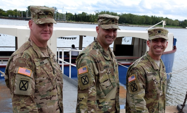 COL Christopher Drew (left), LTC Dennis Sugrue (middle), and LTC Adam Czekanski (right), all served with the 10th Mountain in combat and now serve the Nation as leaders of the U.S. Army Corps of Engineers Great Lakes districts, September 9, 2016.