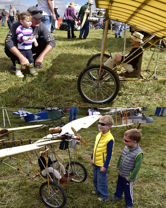 DAYTON, Ohio -- Visitors viewing model aircraft on display at the Tenth WWI Dawn Patrol Rendezvous on Oct. 1-2, 2016, at the National Museum of the U.S. Air Force. (U.S. Air Force photo by Ken LaRock)