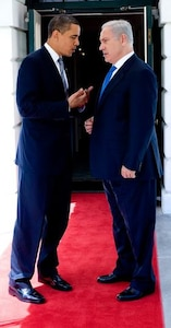 President Barack Obama talks with Israeli Prime Minister Benjamin Netanyahu outside the South Portico following their meetings at the White House Monday, May 18, 2009