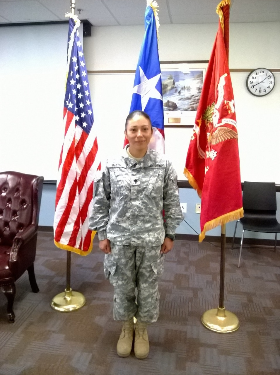 Army Spc. Lisseth Ivonne Mayen Hernandez poses for a photo at Fort Buchanan, Puerto Rico, Sept. 25, 2016. She said she realized her life's dream when she joined the Army Reserve on Dec. 20, 2014. Courtesy photo