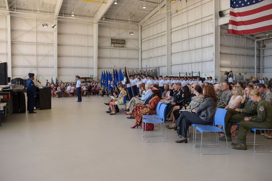 Members of Davis-Monthan Air Force Base and civic leaders gather together for the Twelfth Air Force (Air Forces Southern) change of command ceremony Oct. 3, 2016. During the ceremony, Lt. Gen. Chris Nowland relinquished command to Lt. Gen. Mark Kelly. Air Forces Southern serves as the air component to U.S. Southern Command and is responsible for providing air and space capabilities in support of U.S. military partnerships across Central and South America, and the Caribbean. (U.S. Air Force photo by Tech. Sgt. Heather Redman)
