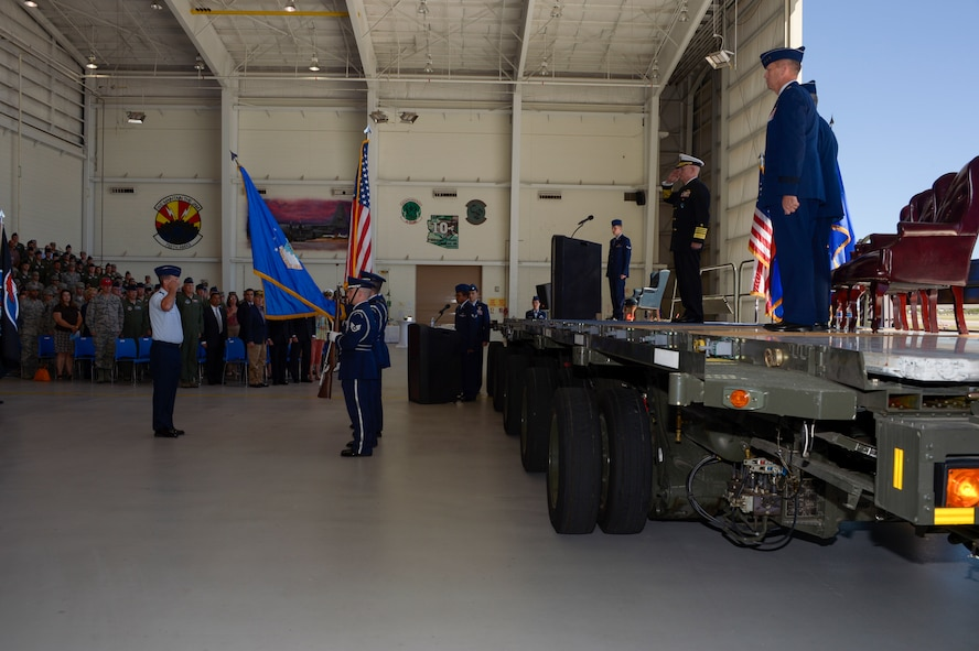 Adm. Kurt Tidd, commander of U.S. Southern Command, presides over the Twelfth Air Force (Air Forces Southern) change of command ceremony Oct. 3, 2016, at Davis-Monthan Air Force Base, Ariz. During the ceremony Lt. Gen. Chris Nowland relinquished command to Lt. Gen. Mark Kelly. Air Forces Southern serves as the air component to U.S. Southern Command and is responsible for providing air and space capabilities in support of U.S. military partnerships across Central and South America, and the Caribbean. (U.S. Air Force photo by Tech. Sgt. Heather Redman)