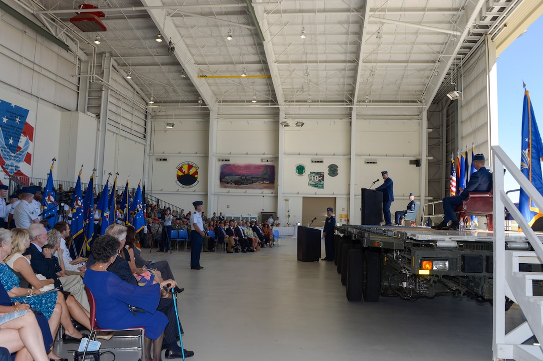 Lt. Gen. Chris Nowland, former commander of Twelfth Air Force (Air Forces Southern), thanked the Airmen for their hard work and dedication to the mission during the Twelfth Air Force (Air Forces Southern) change of command ceremony Oct. 3, 2016, at Davis-Monthan Air Force Base, Ariz. During the ceremony Lt. Gen. Chris Nowland relinquished command to Lt. Gen. Mark Kelly. Air Forces Southern serves as the air component to U.S. Southern Command and is responsible for providing air and space capabilities in support of U.S. military partnerships across Central and South America, and the Caribbean. (U.S. Air Force photo by Tech. Sgt. Heather Redman)