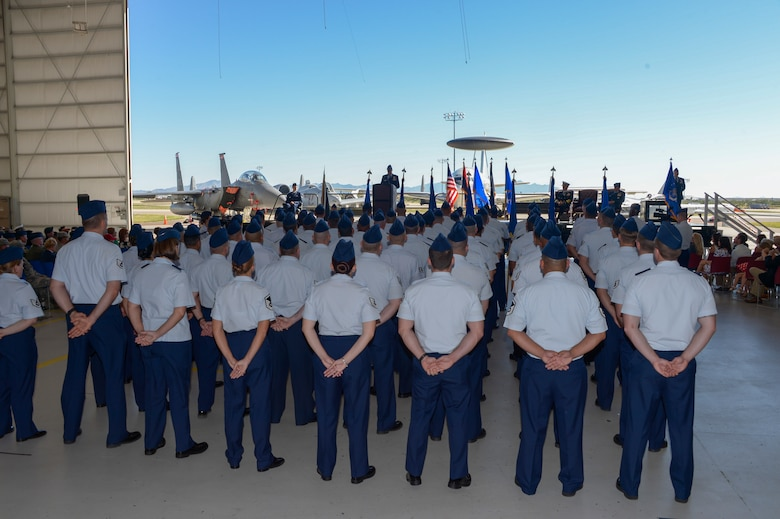 Lt. Gen. Mark Kelly, commander of Twelfth Air Force (Air Forces Southern), addressed the Airmen during   change of command ceremony Oct. 3, 2016, at Davis-Monthan Air Force Base, Ariz. During the ceremony Lt. Gen. Chris Nowland relinquished command to Lt. Gen. Mark Kelly. Air Forces Southern serves as the air component to U.S. Southern Command and is responsible for providing air and space capabilities in support of U.S. military partnerships across Central and South America, and the Caribbean. (U.S. Air Force photo by Tech. Sgt. Heather Redman)