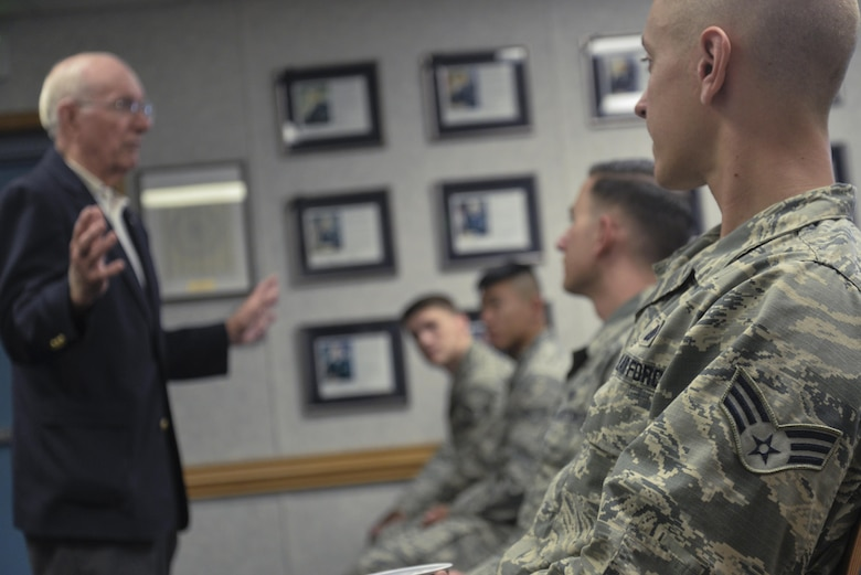 Students in Airman Leadership School class 2016-G listen to the eighth chief master sergeant of the Air Force, Sam Parish as he speaks about enlisted Air Force heritage Oct. 3, 2016 at Fort George G. Meade, Md. Serving for nearly 20 years at the rank of CMSgt, Parish gave his outlook on the history of enlisted history and how Airmen are able to make a change to improve the Air Force during his visit. (U.S. Air Force photo/Staff Sgt. Alexandre Montes)