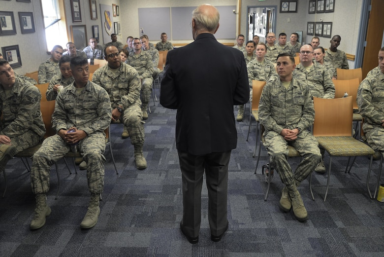 The eighth chief master sergeant of the Air Force, Sam Parish talks to Airman Leadership School class 2016-G about mentoring young Airmen Oct. 3, 2016 at Fort George G. Meade, Md. Serving for nearly 20 years at the rank of CMSgt, Parish gave his outlook on the history of enlisted history and how Airmen are able to make a change to improve the Air Force during his visit. (U.S. Air Force photo/Staff Sgt. Alexandre Montes)