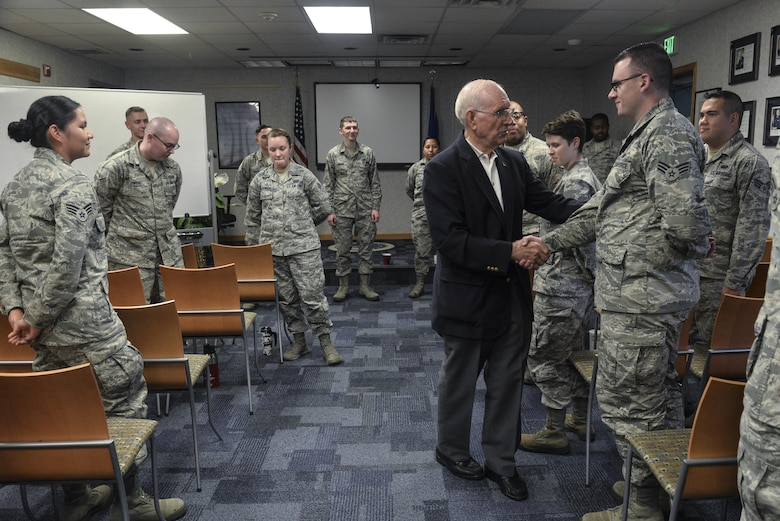 The eighth chief master sergeant of the Air Force, Sam Parish congratulates the students in Airman Leadership School class 2016-G Oct. 3, 2016 at Fort George G. Meade, Md. Serving for nearly 20 years at the rank of CMSgt, Parish gave his outlook on the history of enlisted history and how Airmen are able to make a change to improve the Air Force during his visit. (U.S. Air Force photo/Staff Sgt. Alexandre Montes)