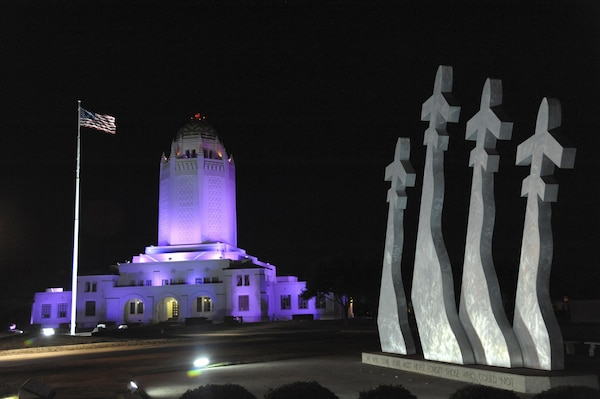 """Landmarks at Joint Base San Antonio locations are bathed in purple light every night this month to raise awareness of a problem that impacts lives and can have a detrimental effect on military families as well as mission readiness. Purple is the color of Domestic Violence Prevention and Awareness Month, which is being observed at JBSA with the theme """"Break the Silence, Stop the Violence."""""""