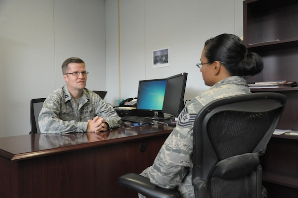 Capt. Richard Boyd (left), 502nd Air Base Wing chaplain, counsels Tech. Sgt. Gabriela Sales, Sept. 21 at Joint Base San Antonio-Randolph. Active-duty and reserve members, retirees and civilian workers of all faiths seeking spiritual guidance can visit the chapel centers located at all three JBSA locations. The chapel centers provide an array of opportunities for spiritual fulfillment, including worship services, religious education classes, pre-marital and marital counseling, family counseling and counseling for active-duty members.