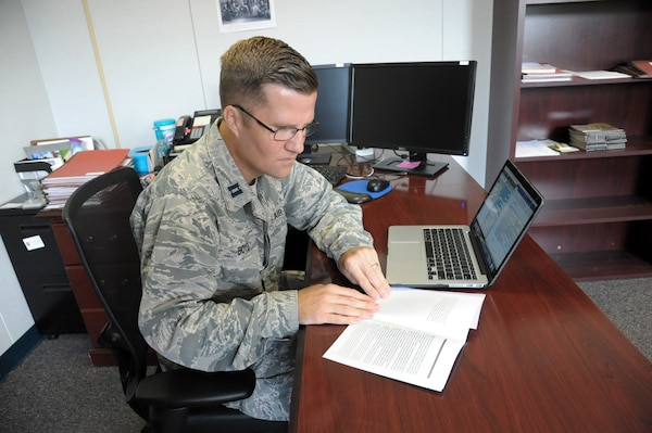 Capt. Richard Boyd (left), 502nd Air Base Wing chaplain, prepares a sermon, Sept. 21 at Joint Base San Antonio-Randolph. Active-duty and reserve members, retirees and civilian workers of all faiths seeking spiritual guidance can visit the chapel centers located at all three JBSA locations. The chapel centers provide an array of opportunities for spiritual fulfillment, including worship services, religious education classes, pre-marital and marital counseling, family counseling and counseling for active-duty members.