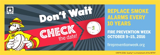 "JBSA Fire Emergency Services is following the Fire Prevention Week theme ""Don't Wait – Check the Date! Replace Smoke Alarms Every 10 Years"" in stressing to JBSA residents and the public the importance of properly functioning smoke alarms and smoke alarm safety."