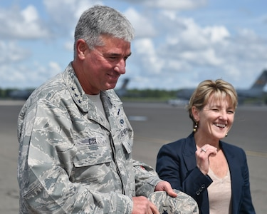 U.S. Air Force Lt. Gen. Sam Cox, 18th Air Force commander, accompanied by his wife, Tammy, arrive at Joint Base Charleston, South Carolina Sept. 27, 2016. Cox and his wife were visiting Joint Base Charleston to meet the Airmen of the 437th Airlift Wing and convey to them the importance of the work they do every day. As Air Mobility Command's sole warfighting numbered air force, 18th Air Force is responsible for the command's worldwide operational mission of providing rapid, global mobility and sustainment for America's armed forces through airlift, aerial refueling, aeromedical evacuation, and contingency response.