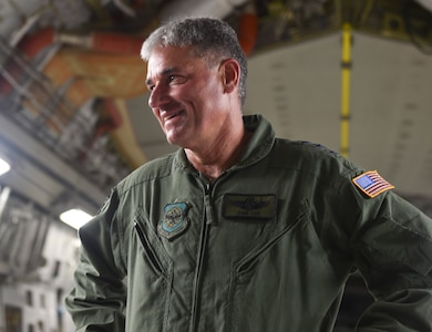 U.S. Air Force Lt. Gen. Sam Cox, 18th Air Force commander, tours a C-17 Globemaster III on Sept. 28, 2016, at Joint Base Charleston, South Carolina during an alert readiness demonstration. The 437th Airlift Wing's mission is to safely provide precise, reliable airlift worldwide. In the past year, Airmen from the 437th have supported air mobility operations in Iraq, Afghanistan and Southwest Asia. As Air Mobility Command's sole warfighting numbered air force, 18th Air Force is responsible for the command's worldwide operational mission of providing rapid, global mobility and sustainment for America's armed forces through airlift, aerial refueling, aeromedical evacuation, and contingency response.
