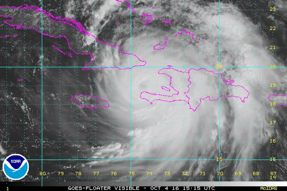 According to the National Oceanographic and Atmospheric Administration's National Hurricane Center in Miami, Hurricane Matthew is centered about 30 nautical miles south of Tiburon, Haiti, and about 78 nautical miles south of the eastern tip of Cuba, moving north at more than 10 miles an hour. The storm's maximum sustained winds have been measured at 145 miles an hour, NOAA says. The eye of Hurricane Matthew is expected to hit far-eastern Cuba later Oct. 4, NHC forecasters say, and hurricane models show the hurricane moving along or just off the east coast of Florida and further north along the coast, NOAA says, possibly as far as Massachusetts by Sunday morning, Oct. 9. NOAA graphic