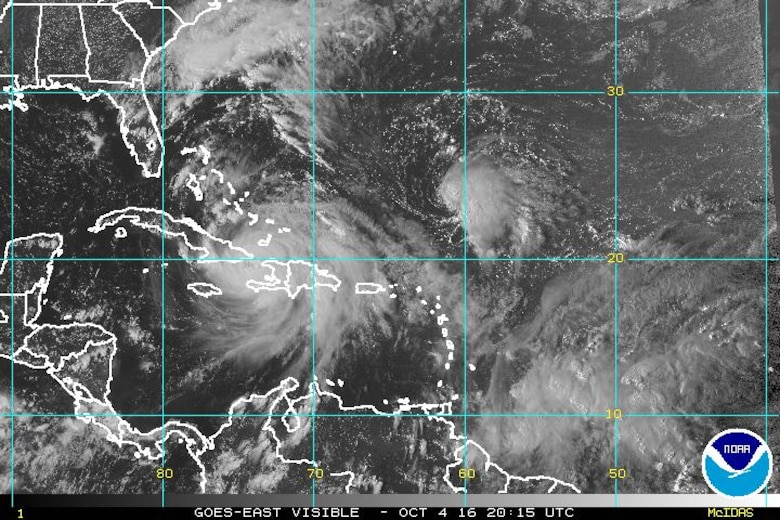 Current satellite imagery as of Oct. 4, 2016. We encourage you to continue to monitor the following:  http://www.patrick.af.mil/Units/Hurricane-Information https://www.facebook.com/45thSpaceWing/ https://www.twitter.com/45thSpaceWing Local television and radio stations  (Photo/Courtesy NOAA)