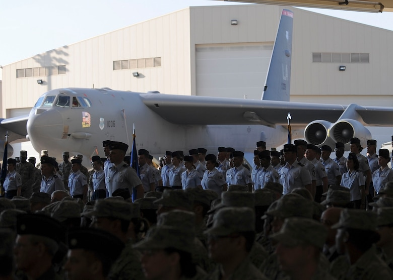 Masses of bomber Airmen gather at the weapons load trainer at Barksdale Air Force Base, La., for the Eighth Air Force change of command ceremony Oct. 4, 2016. Bomber Airmen include aircrews and support personnel for the B-1 Lancer, B-2 Spirit and B-52 Stratofortress (pictured above). (U.S. Air Force photo by Airman 1st Class Stuart Bright)