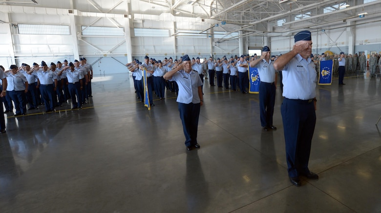 U.S. Air Force Col. Patrick Matthews, far right, Eighth Air Force vice commander, leads a five-group formation during a salute to the new commander at a change of command ceremony at Barksdale Air Force Base, La., Oct. 4, 2016. The five formations represented the five bomber wings under the organization. The Mighty Eighth encompasses all nuclear-capable and conventional bombers to include the B-1, B-52 and B-2. (U.S. Air Force photo by Senior Airman Curtis Beach)