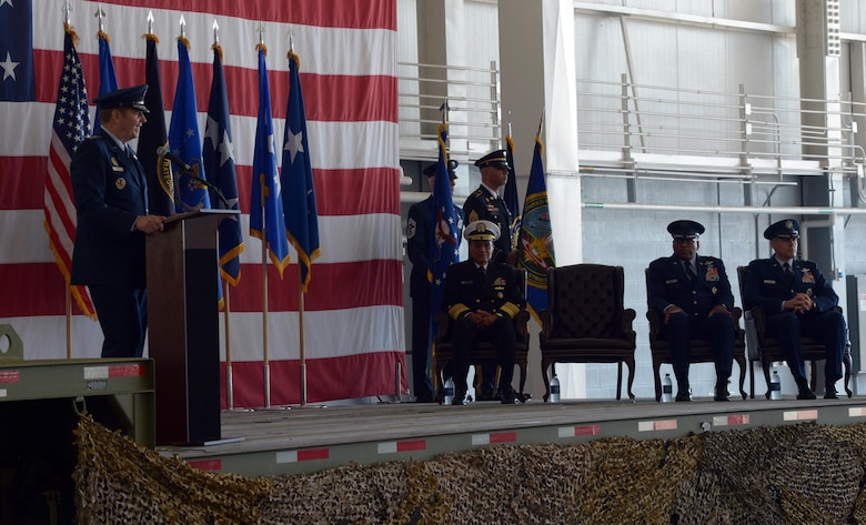 From left, U.S. Air Force Gen. Robin Rand, commander of Air Force Global Strike Command, officiates the Eighth Air Force change of command ceremony at Barksdale Air Force Base, La., Oct. 4. Maj. Gen. Thomas Bussiere, far right, took command from Maj. Gen. Richard Clark, second from right, to oversee the Air Force's B-1, B-2 and B-52 bomber fleets. (U.S. Air Force photo by Senior Airman Curtis Beach)