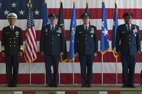 From left, U.S. Navy Admiral Cecil Haney, commander of U.S. Strategic Command, U.S. Air Force Gen. Robin Rand, commander of Air Force Global Strike Command, Maj. Gen. Thomas Bussiere, incoming Eighth Air Force/Task Force 204/Joint Force Component Command for Global Strike commander, and Maj. Gen. Richard Clark, exiting 8AF, JFCC-GS, TF204 commander, stand during a change of command ceremony at Barksdale AFB, La., Oct. 4.