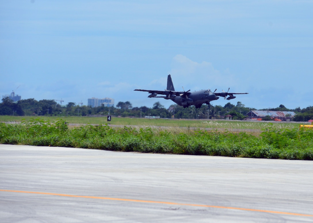 A Philippine Air Force MC130-P aircraft takes off during a mass casualty response exercise, during the U.S. Air Contingent at Brigadier General Benito N Ebuen Air Base, Philippines, Sept. 29, 2016. During the exercise, civilian and military disaster response experts met together to exchange ideas and best practices, helping build the capacity of the Philippine Air Force. (U.S. Air Force photo by Capt. Mark Lazane)