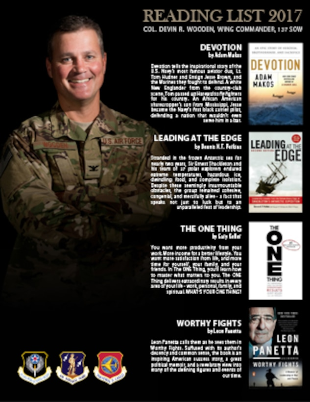 137th Special Operations Wing Commander, Col. Devin R. Wooden, released his 2017 reading list.