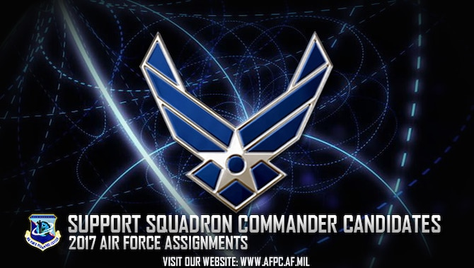 Development teams from more than 20 functional communities selected officers as squadron commander candidates for 2017. Projected command vacancies included training, recruiting and 365-day extended deployment command opportunities. (U.S. Air Force graphic by Staff Sgt. Alexx Pons)