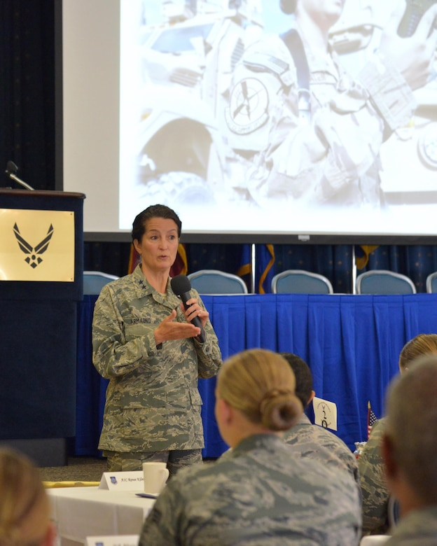 Maj. Gen. Nina Armagno, Strategic Plans, Programs, Requirements and Analysis, Headquarters Air Force Space Command director, Peterson Air Force Base, Colo., shares her experiences of persevering through challenges at the second 20th Air Force Women's Leadership Symposium at Kirtland Air Force Base, N.M., Sept. 28, 2016. Armagno detailed her own military career and answered questions from Airmen in the audience. The three-day event supports 20th AF's goal to coach, train and mentor nuclear professionals and leaders, while developing a nuclear command environment that fosters understanding, respect and the support necessary for people to thrive. (U.S. Air Force photo by Jamie Burnett)