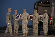 An Air Force carry team places a transfer case carrying Maj. Troy Gilbert's remains into a vehicle Oct. 3, 2016, at Dover Air Force Base, Del., for transport to the port mortuary and identification center, a part of the Armed Forces Medical Examiner System. Gilbert died Nov. 27, 2006, when his F-16C Fighting Falcon crashed while he was providing close-air support to special operations forces about 30 miles southwest of Balad Air Base, Iraq. His remains were finally returned to the U.S. on Oct. 3, 2016. (U.S. Air Force photo/Senior Airman Aaron J. Jenne)