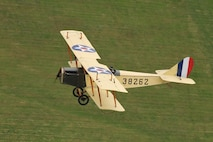 """DAYTON, Ohio -- World War I aircraft took to the skies during the Tenth WWI Dawn Patrol Rendezvous on Oct. 1-2, 2016, at the National Museum of the U.S. Air Force. This aircraft is a Curtiss JN4 Jenny from the non-profit organization """"Friends of Jenny"""", Bowling Green, Kentucky. (U.S. Air Force photo by Victoria Thomas)"""