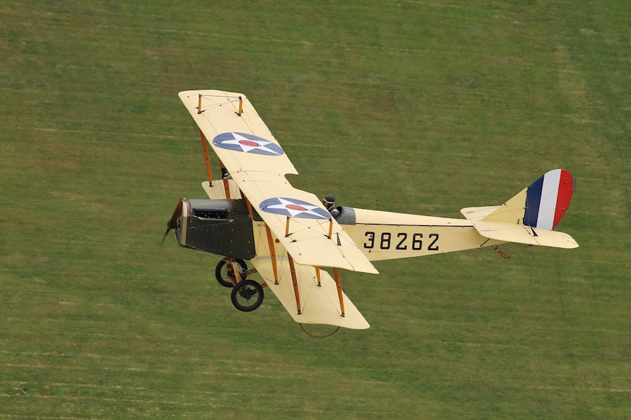 "DAYTON, Ohio -- World War I aircraft took to the skies during the Tenth WWI Dawn Patrol Rendezvous on Oct. 1-2, 2016, at the National Museum of the U.S. Air Force. This aircraft is a Curtiss JN4 Jenny from the non-profit organization ""Friends of Jenny"", Bowling Green, Kentucky. (U.S. Air Force photo by Victoria Thomas)"