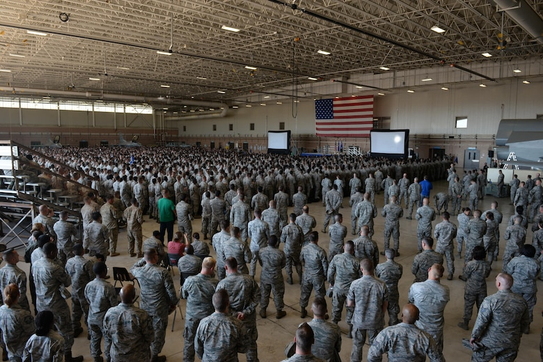 Nearly 4,000 Airman listen to Maj. Gen. Robert Labrutta, 2nd Air Force commander, share his story and leadership philosophy at Sheppard Air Force Base, Texas, Oct. 4, 2016. Labrutta visited Sheppard for his initial immersion tour after taking command of the 2nd Air Force. (U.S. Air Force photo by Senior Airman Kyle E. Gese)