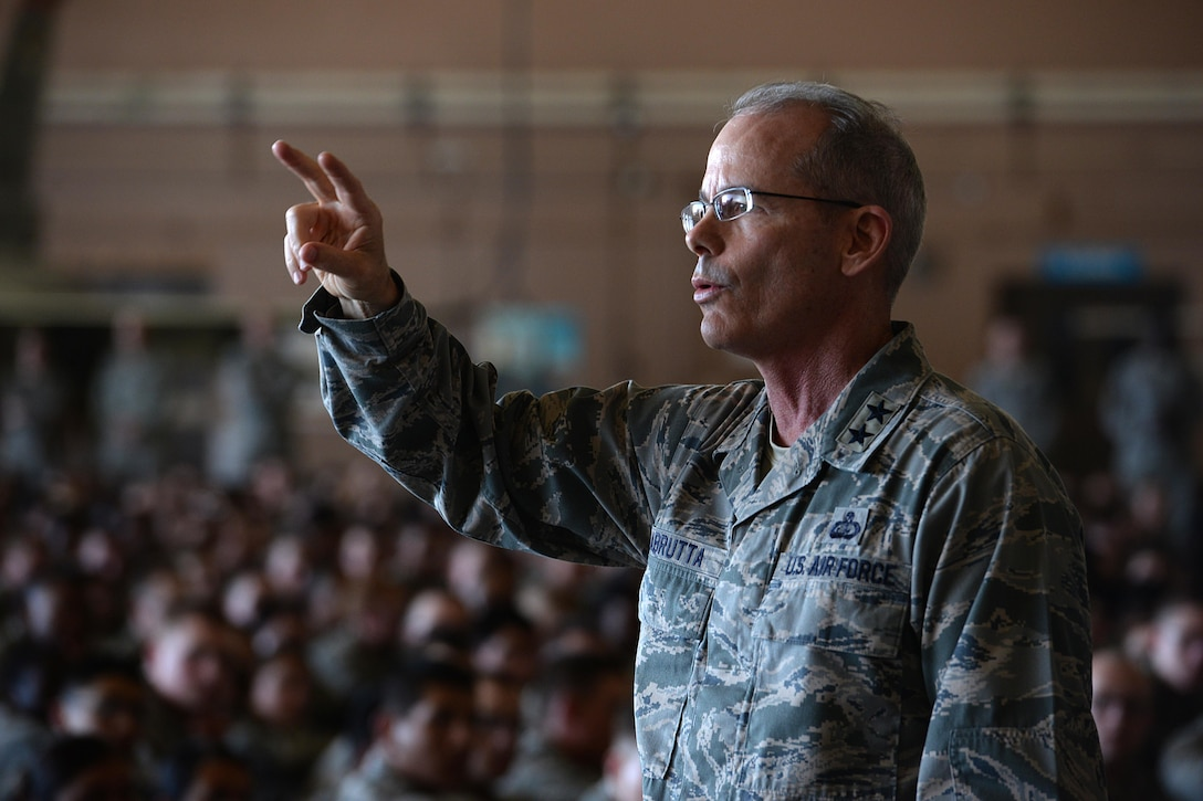 Maj. Gen. Robert Labrutta, 2nd Air Force commander, speaks to Airmen at Sheppard Air Force Base, Texas, during an all call, Oct. 4, 2016. During the all call, Labrutta shared his personal story and leadership philosophy with Airmen and challenged them to be better than the person who came before them. (U.S. Air Force photo by Senior Airman Kyle E. Gese)