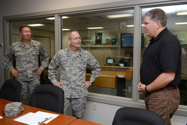 Maj. Gen. Robert Labrutta, 2nd Air Force commander, visits with the Air Force Logistics Officer School during an immersion tour at Sheppard Air Force Base, Texas, Oct. 5, 2016. Labrutta visited Sheppard for his initial immersion tour after taking command of the 2nd Air Force. (U.S. Air Force photo by Senior Airman Kyle E. Gese)
