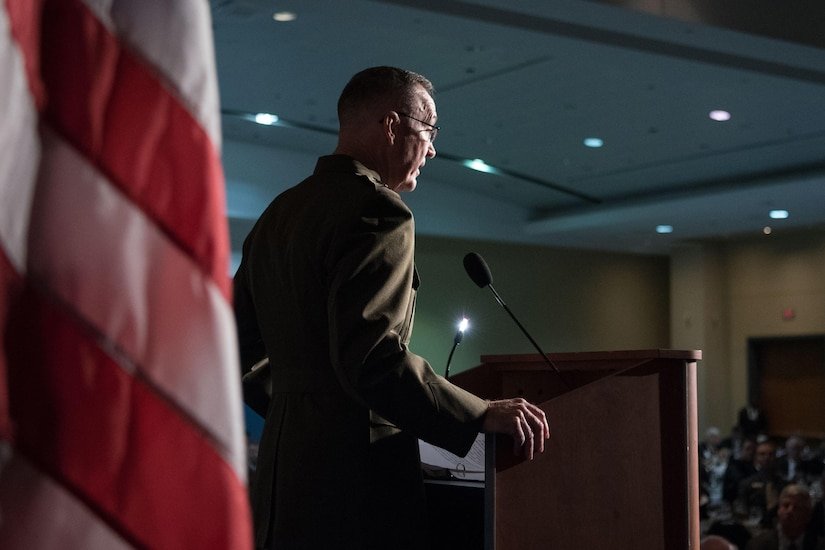 Marine Corps Gen. Joe Dunford, chairman of the Joint Chiefs of Staff, speaks at the Association of the U.S. Army's 2016 meeting in Washington, D.C., Oct. 5, 2016. DoD photo by Navy Petty Officer 2nd Class Dominique A. Pineiro