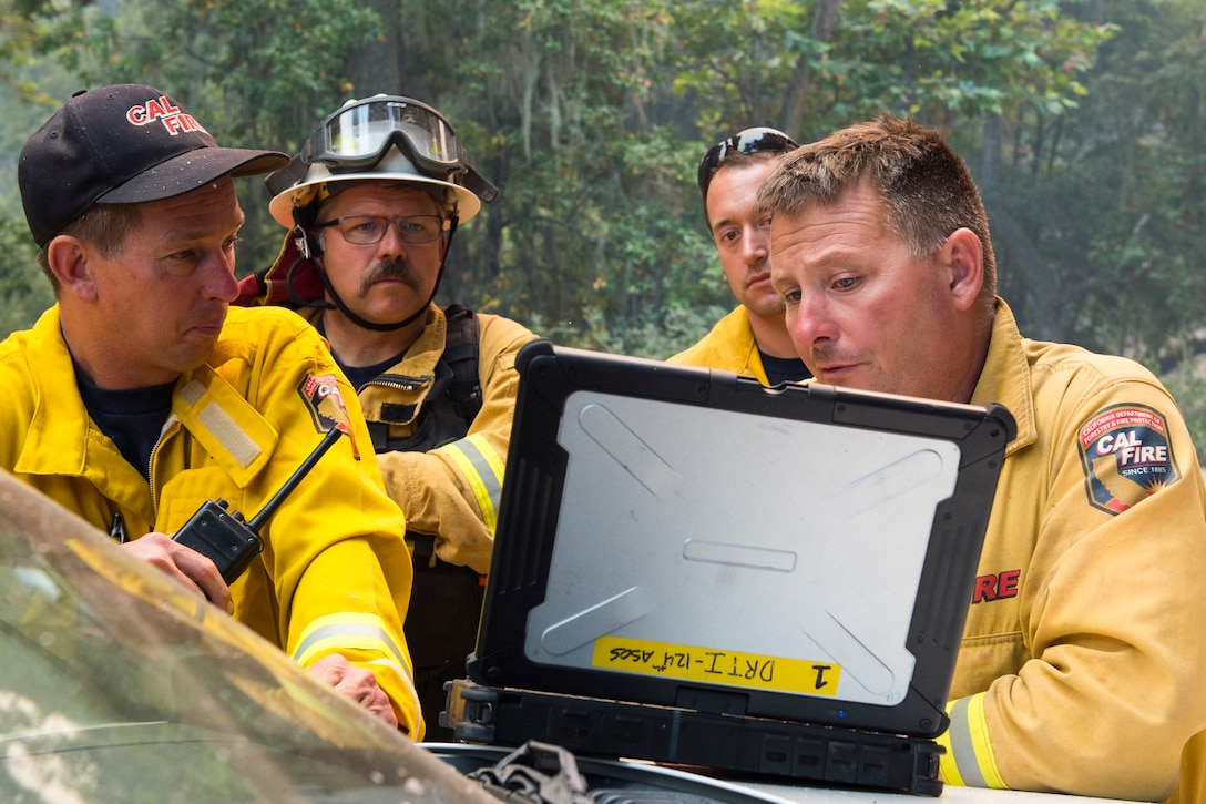 Idaho Air National Guard Airmen from the 124th Air Support Operations Squadron provided real time aerial infrared imagery to interagency fire fighters in Monterey County, California on the Soberanes August 2016. The platform and mission they were supporting is known as the Distributed Real-time Infrared platform and Washington and Idaho Air National Guardsmen support the mission.  (U.S. Air National Guard photo by Tech. Sgt. Joshua C. Allmaras)