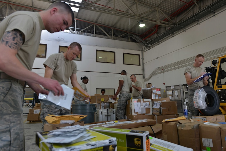 U.S. Airmen assigned to the 39th Logistics Readiness Squadron organize and account for cargo Sept. 29, 2016, at Incirlik Air Base, Turkey. The Airmen are part of the deployment and distribution flight, responsible for the dispersal of cargo around base. (U.S. Air Force photo by Senior Airman John Nieves Camacho)