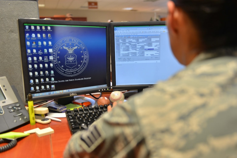 U.S. Air Force Staff Sgt. Amanda Olmos, 39th Logistics Readiness Squadron outbound cargo noncommissioned officer in charge, logs data into the cargo movement operations system Sept. 29, 2016, at Incirlik Air Base, Turkey. All package data is archived for tracking and continuity. (U.S. Air Force photo by Senior Airman John Nieves Camacho)