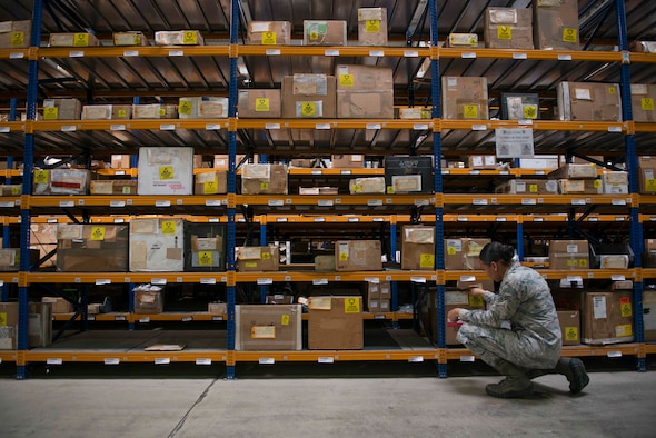 U.S. Air Force Airman 1st Class Kiara Alexander, 39th Logistics Readiness Squadron central storage journeyman, inventories cargo in the supply warehouse Oct. 4, 2016, at Incirlik Air Base, Turkey. All cargo is inspected prior to issue to ensure serviceability for customers. (U.S. Air Force photo by Senior Airman John Nieves Camacho)