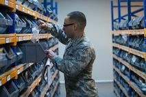 U.S. Air Force Staff Sgt. Ray Medrano, 39th Logistics Readiness Squadron central storage NCO in charge, inspects shelf life items in the supply warehouse Oct. 4, 2016, at Incirlik Air Base, Turkey. Supply Airmen keep accountability of resources and equipment and distribute items required for mission accomplishment across the base. (U.S. Air Force photo by Senior Airman John Nieves Camacho)