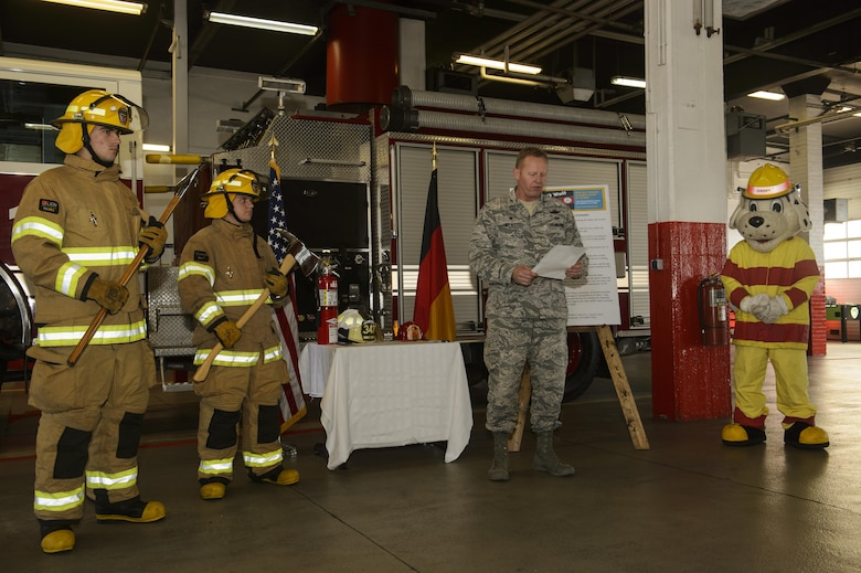 "U.S. Air Force Col. Joseph McFall, 52nd Fighter Wing commander, reads the 2016 Fire Prevention Week proclamation at the base fire department on Spangdahlem Air Base, Germany, Oct. 5, 2016. This years Fire Prevention Week will be observed Oct. 9-15 with the theme ""Don't wait - Check the Date."" The emphasis is on replacing batteries yearly in all smoke alarms and replacing the alarms themselves every 10 years. (U.S. Air Force photo by Staff Sgt. Jonathan Snyder)"