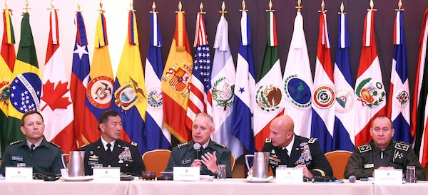 Gen. Alberto Jose Mejia, Colombian National army commander addresses members of the Conference of the American Armies during a specialized conference that took place in Bogota, Colombia Sept. 19-23. The purpose of the conference is to address various concerns that effect multiple countries from both North and South America. The conference is made up of more than 20 members, will other countries attending as observers.