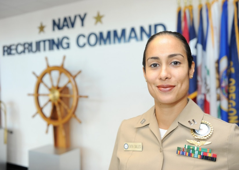 Navy Lt. Evita Salles, director of reserve officer accessions for the Navy Recruiting Command, poses for a photo at the command's headquarters in Millington, Tenn., Sept. 21, 2016. Salles was named the winner of the Salute to Active Duty Servicewomen Award by the American Legion Auxiliary at the group's national convention in Cincinnati, Aug. 30, 2016. Navy photo by Petty Officer 3nd Class Brandon Martin