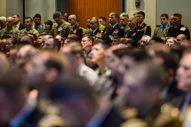 Attendees fill a convention hall to standing room only capacity during a joint force panel on the multi-domain battle concept at the Association of the U.S. Army Annual Meeting and Exposition in Washington, D.C., Oct. 4, 2016. (U.S. Air Force photo/Tech. Sgt. Joshua L. DeMotts)