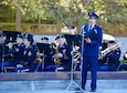Lt. Col. Tim Swanson (Ret), former 934th Airlift Wing member, sings the National Anthem at the Minnesota Medal of Honor Memorial groundbreaking ceremony Oct. 3.