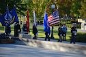A joint service color guard retires the colors following the ceremony at the Minnesota Medal of Honor Memorial groundbreaking ceremony Oct. 3.