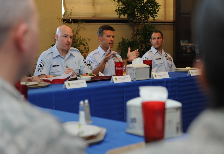 Chief Master Sgt. Michael Flint, 688th Cyberspace Wing command chief, Lackland Air Force Base, Texas, speaks to 333rd Training Squadron instructors during a site visit luncheon at the Bay Breeze Event Center Oct. 3, 2016, on Keesler Air Force Base, Miss. The 24th Air Force leadership visited Keesler to familiarize themselves with how the Air Force trains cyber career field Airmen. (U.S. Air Force photo by Kemberly Groue/Released)